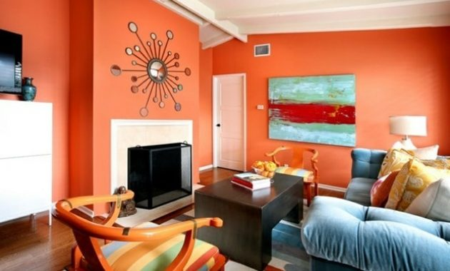 Deco peinture orange salon