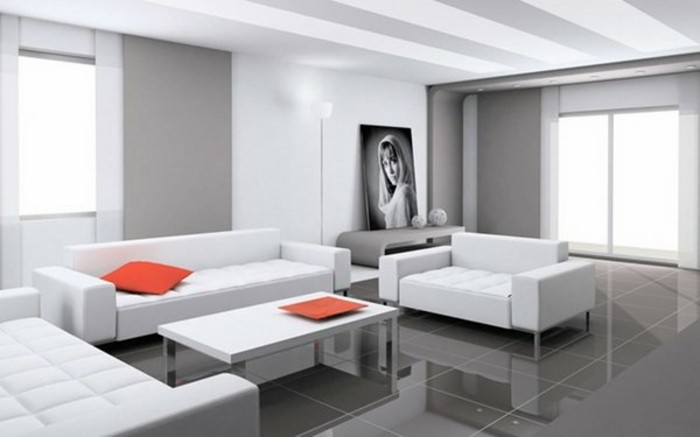 Decoration salon peinture gris